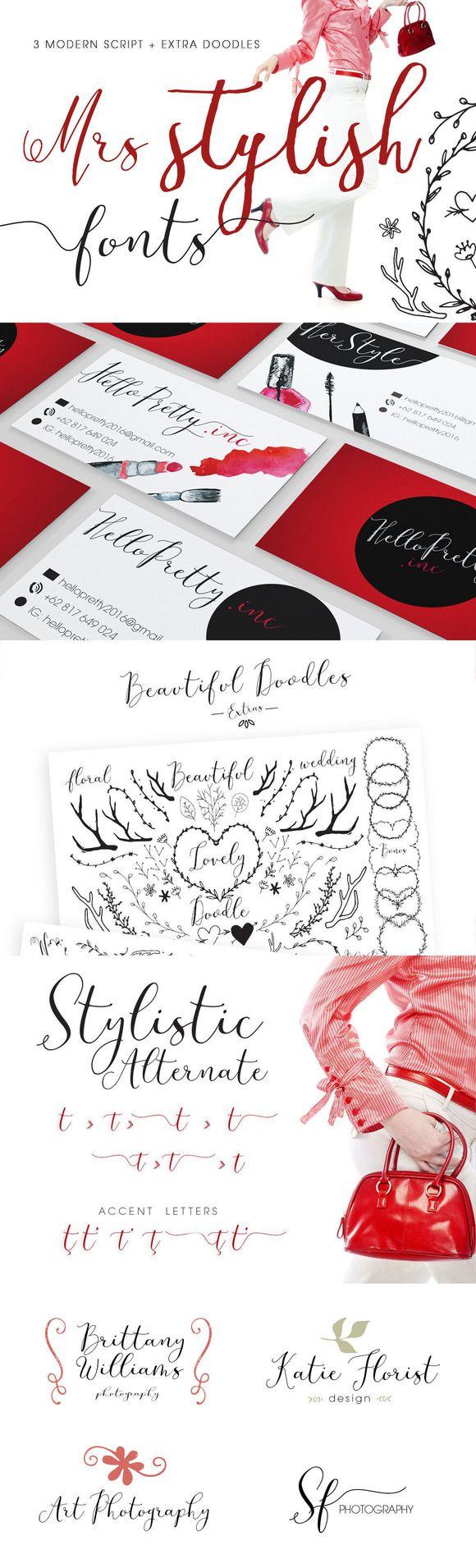 Mrs Stylish Fonts+Extras Update by mycandythemes on @creativemarket