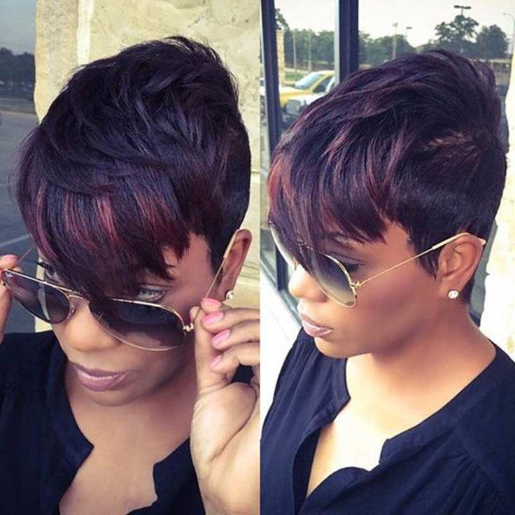 Wig Sintetis pendek untuk Wanita Hitam Pendek Lurus Pixie Cut Wig Tahan Panas Sintetis Wig Wanita Rambut Sintetis Alami