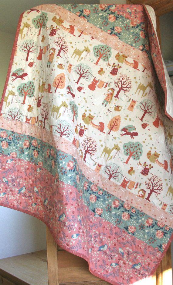 Baby Girl Quilt, Modern Blanket, Baby Bedding, Acorn Trail, Birch Ogranic Fabrics, Crib Quilt, Nursery Decor, Coral Mauve Pink by SunnysideDesigns2