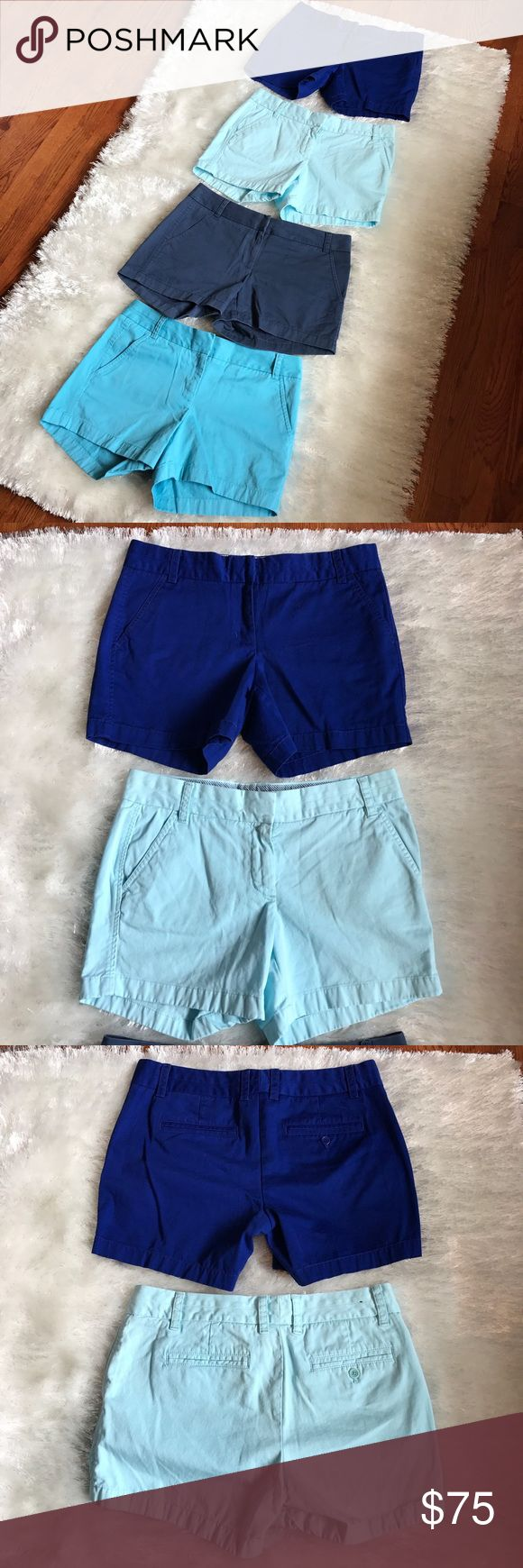 J. CREW Size 6 Bundle of Shorts J. Crew Chino Bundle. 4 pairs, size 6. Each pair is originally priced at $40, so this is an amazing deal for four pairs, lightly worn and loved. All different blues - navy, sky, royal, and light. J. Crew Shorts