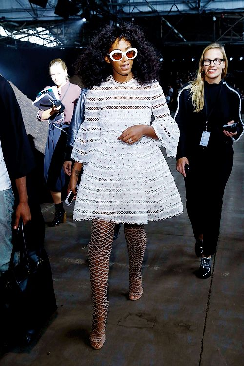 """celebritiesofcolor: """" Solange Knowles attends the Phillip Lim collection during Spring 2016 New York Fashion Week at Pier 94 on September 14, 2015 in New York City. """""""