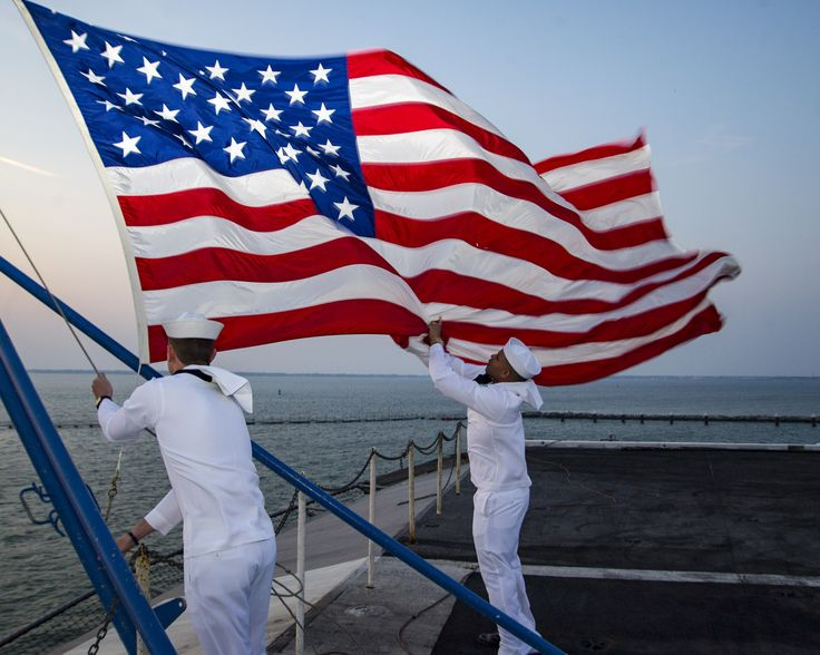 https://flic.kr/p/THE5HE | Sailors aboard USS Dwight D. Eisenhower retire the colors. | NORFOLK (April 16, 2017) Sailors assigned to the color guard aboard the aircraft carrier USS Dwight D. Eisenhower (CVN 69) retire the colors. Dwight D. Eisenhower is pierside during the sustainment phase of the Optimized Fleet Response Plan (OFRP). (U.S. Navy photo by Mass Communication Specialist 2nd Class Andrew J. Sneeringer/Released) 170416-N-WS581-049 Join the conversation…