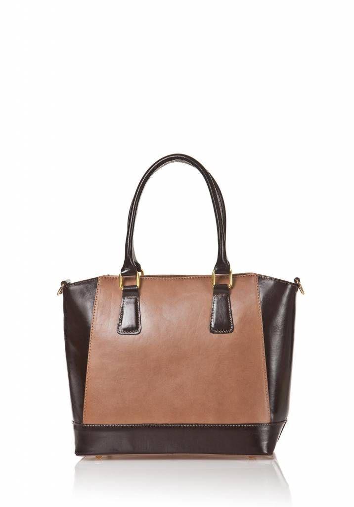 Handtas van kalfsleer met verstelbare schouderband taupe kleur met donker bruin