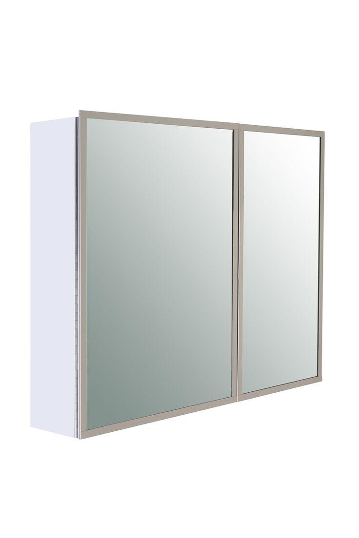 Klaxon Framed double pull Steel mirror door with frame (600x120x495) #Mirror_cabinet #kriosdirect