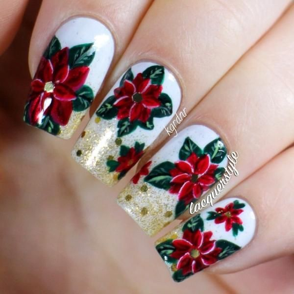 Holiday/Christmas Poinsettia Nails by @Kathleen Gardner