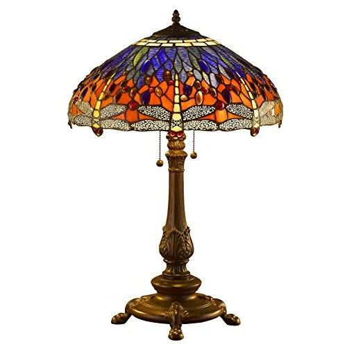 Amora Lighting Amora Lighting AM1024TL18 Tiffany Style Dragonfly Table Lamp Wide 18 In