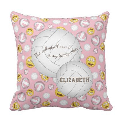 pink volleyball court happy place smiley emoji throw pillow - diy cyo personalize design idea new special custom