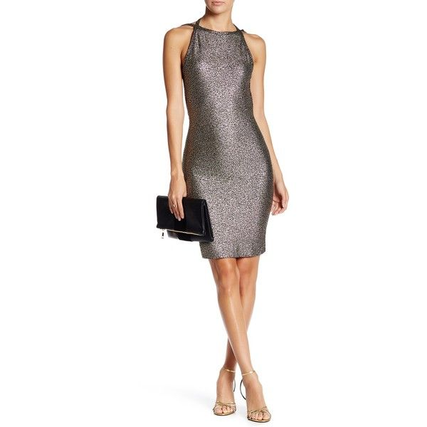 Love...Ady Open Back Metallic Bodycon Dress ($45) ❤ liked on Polyvore featuring dresses, white open back dress, white bodycon dress, bodycon dress, body con dress and sleeveless dress