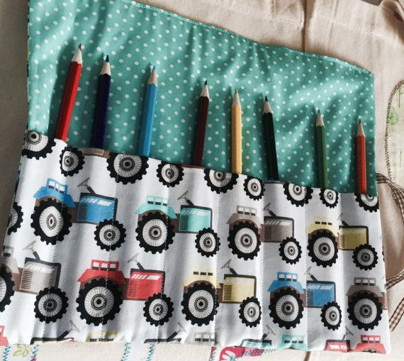 Fabric wrap for pencils by LittleDanDesigns on Etsy