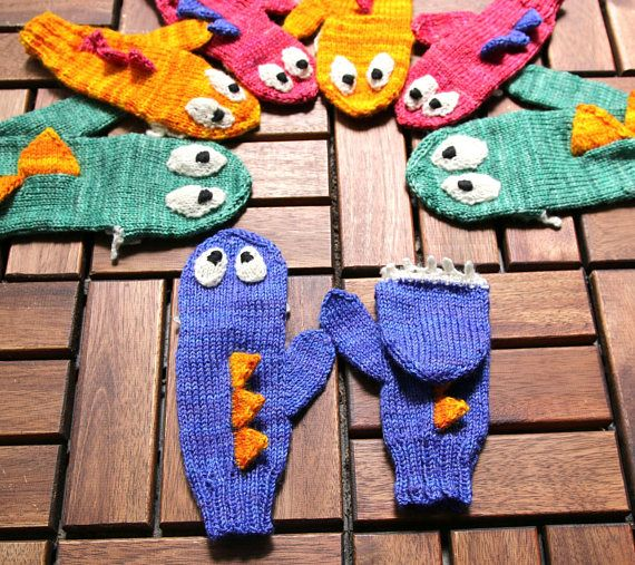 Convertible Monster mittens handknit gloves for adults and