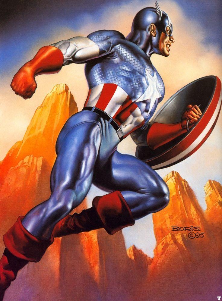 Artist: Boris Vallejo  -  Captain America  -  http://fantasy.art.passion.free.fr/news.php  -  http://www.borisjulie.com/  -  #BorisVallejo
