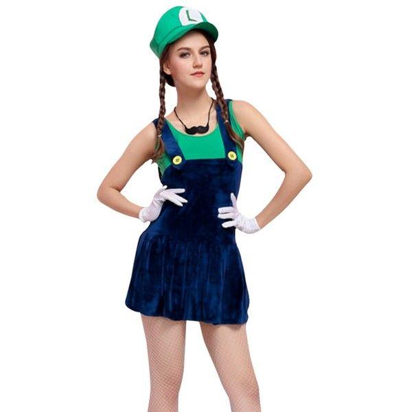 Cartoon Characters Costumes : Womens cartoon halloween costume super mario green