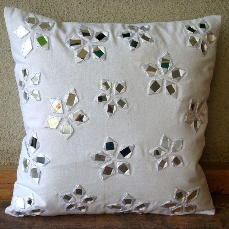 "Mirror 16""X16"" Cotton Canvas White Throw Pillow Covers - Floral Lake"