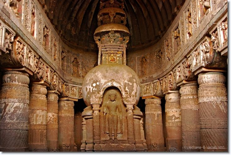 Ajanta Cave 19. In the chaitya below, the buddha is seen with the stupa, probably refering to a transition from the hinayana to the mahayana style of buddhism.