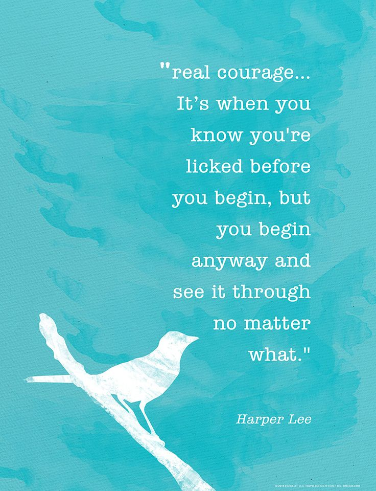 Real Courage Harper Lee Minimalist Art Print. For School, Library, Office or Home. To Kill a Mockingbird Quote Print by EchoLiteraryArts on Etsy