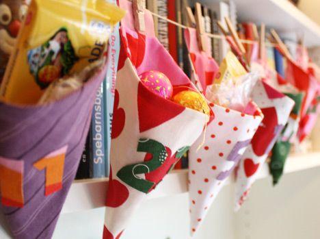 30 #advent calendars for #christmas: Christmas Advent Calendar, Paper Cones, Cones Garlands, Christmas Fabric, Advent Calender, Calendar Ideas, Adventcalendar, Christmas Calendar, Advent Ideas