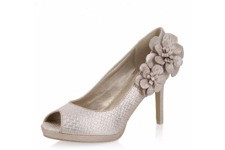 Ruby Shoo Donna Gold High Heel Peep Toe Flower Shoes
