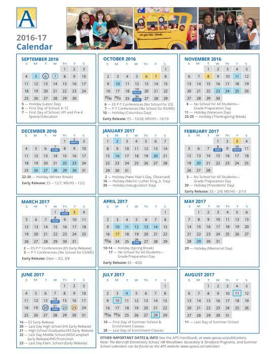 APS Calendar 2016-17 : School - school - Francis Scott Key Elementary
