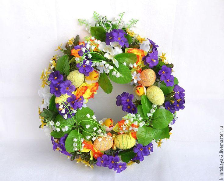 Купить Пасхальный венок. - венок, венок из цветов, венок на дверь, венок ручной работы