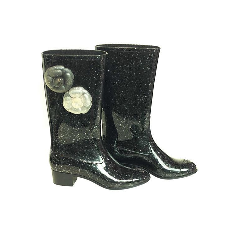 Chanel Rain Boots | CHANEL Black Glitter Rainboots With Camelias at 1stdibs