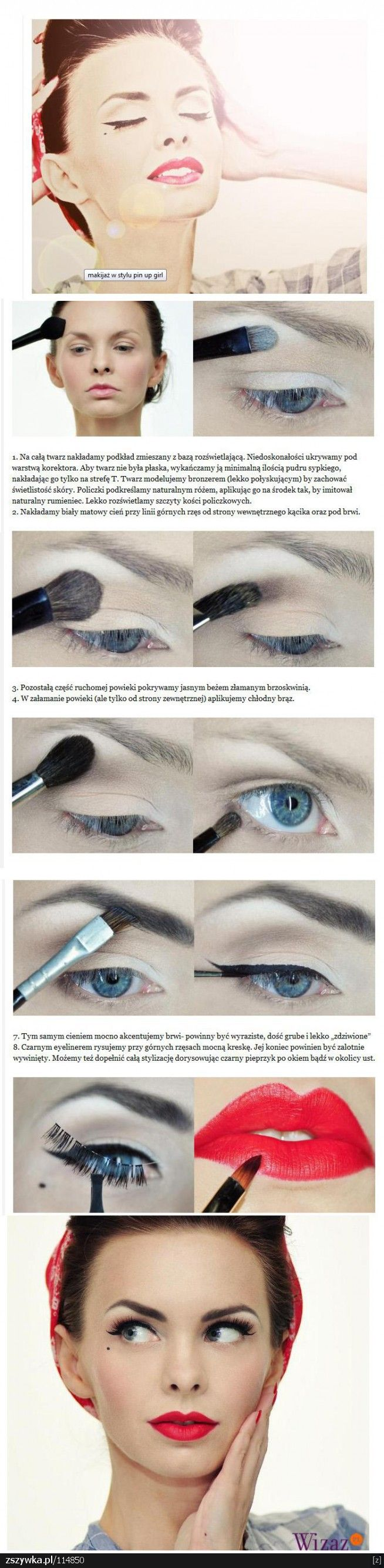 Pinup style makeup. Notes aren't in English, but I think you can still follow…