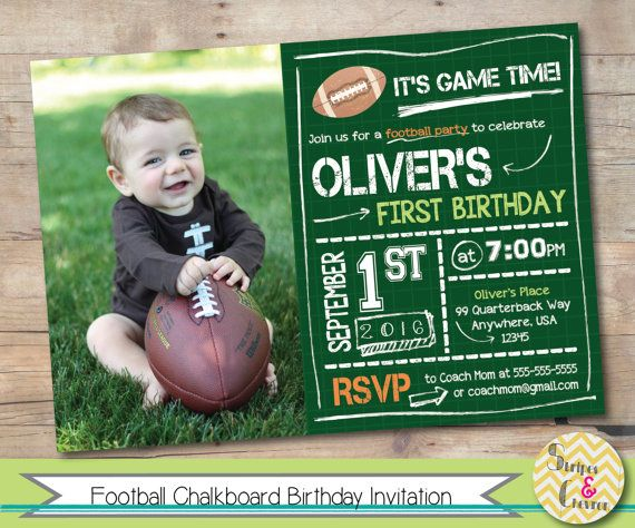 Football birthday invite Green chalkboard by StripesAndChevron