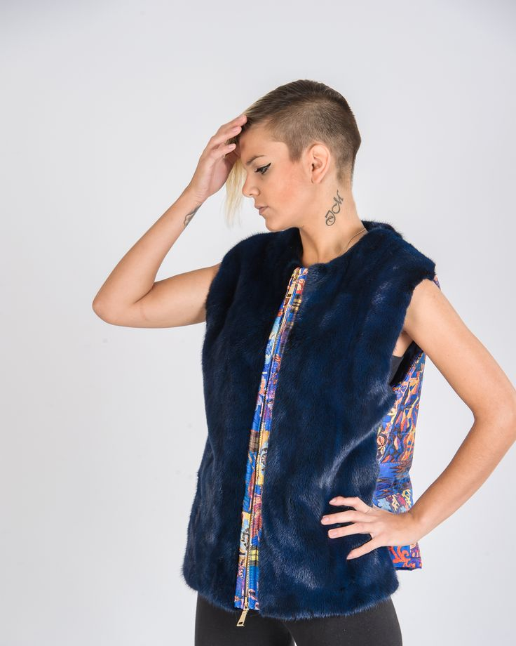 """Spring style, blue mink vest with knitted details at the back, from our """"Lemon"""" series."""