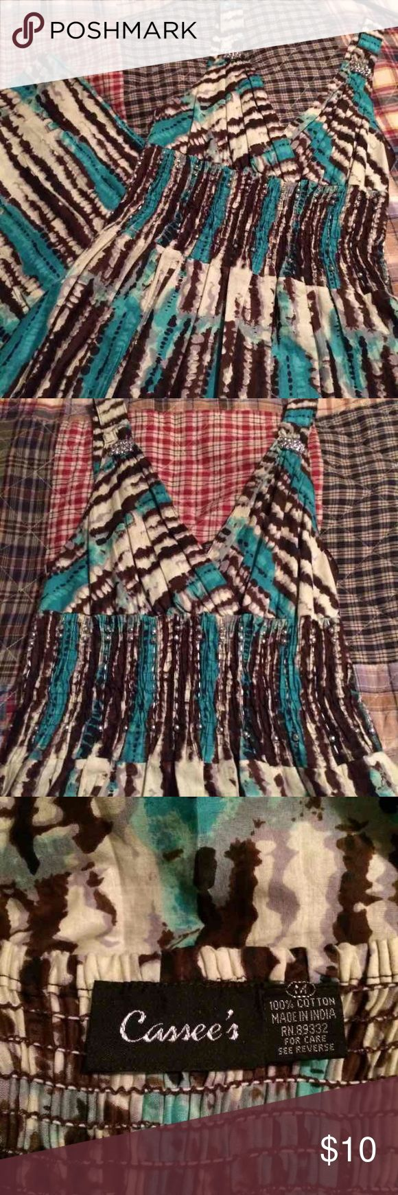 Turquoise and Brown Maxi 😊💕 Halter top Maxi dress 👗💕. 52 inches long, 100% cotton.  Easily hemmed if needed.  Embellished with silver accents at that top, stretchy just under the bust.  Size medium.  Reposhing, sadly it is small on me. Gorgeous summer Maxi 💕💕 Dresses Maxi