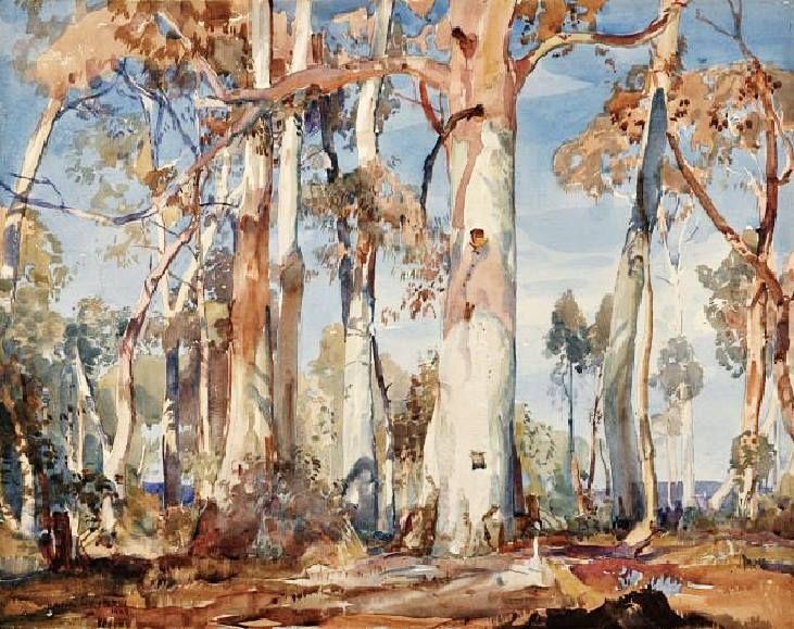 Sir Hans Heysen (1877 — 1968, Australia) White Gums. watercolour. 33 x 41 cm.
