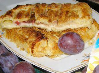 W Mojej Kuchni Lubię.. : ze śliwkami, budyniem francuskie ciasto na deser.....