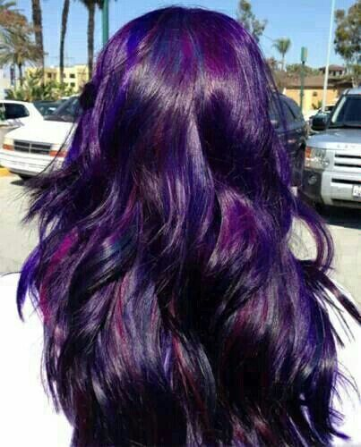 purple lbue highllights on blue black hair