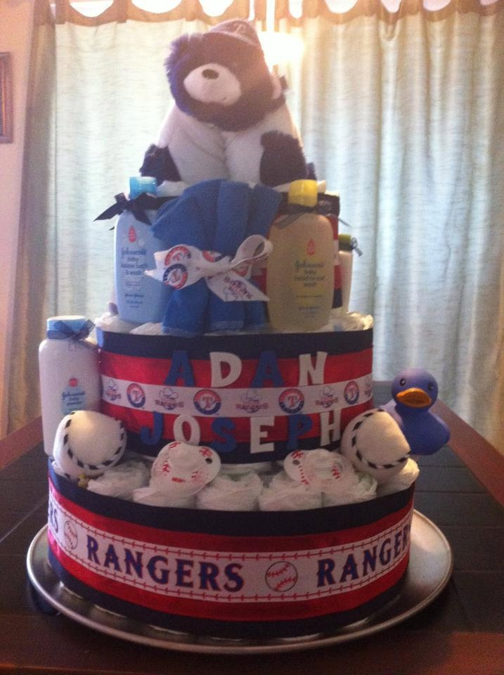 Texas Ranger Diaper Cake - Shoot!  we are 8 months to late on this one.  Keeping it in the vault.