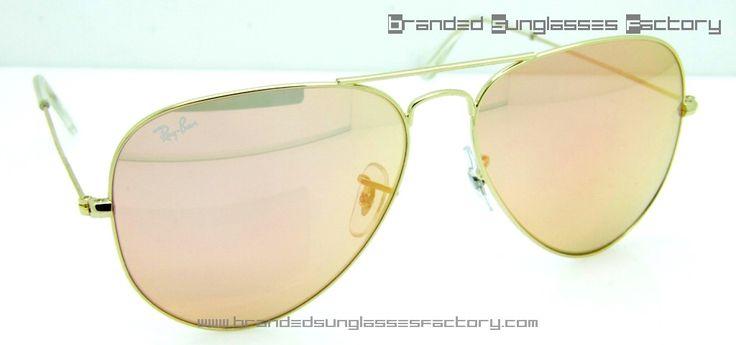 Ray Ban Aviator RB3025 58MM Sunglasses Gold Frame Pink Iridium Lens - by www.brandedsunglassesfactory.com