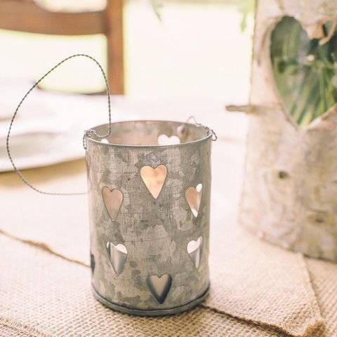 Zinc Metal Tea Light Holder with Small Hearts - Set Of 2