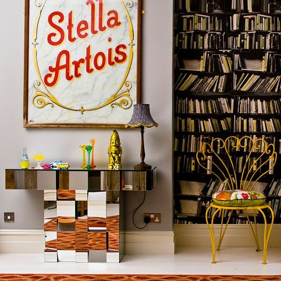 Looking For Unique Living Room Decorating Ideas Take A Look At This Eclectic With Bookcase Wallpaper From Livingetc Inspiration