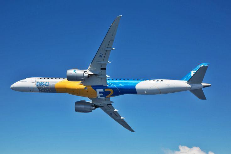 A Embraer comemorou nesta quarta-feira a primeira decolagem do E195-E2, maior versão da nova família de jatos comerciais da empresa. A aeronave havia sido apresentada ...