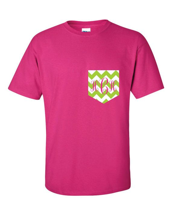 Lime Chevron Monogram Pocket Tee t shirt tshirt Personalized Monogrammed Gifts on Etsy, $16.99