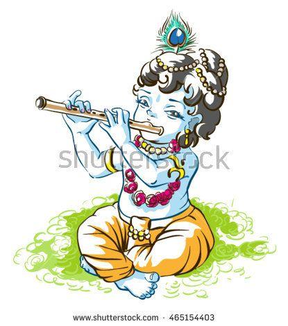 God Krishna Janmashtami. Boy shepherd playing flute. Vector cartoon illustration