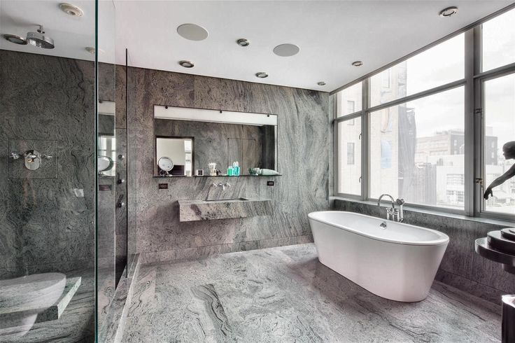 Top 12 Excellent Gray Bathroom Design Ideas : Modern Gray Bathroom Design Inspiration with Cloistered Shower Area and Chic FreeStanding Bath...
