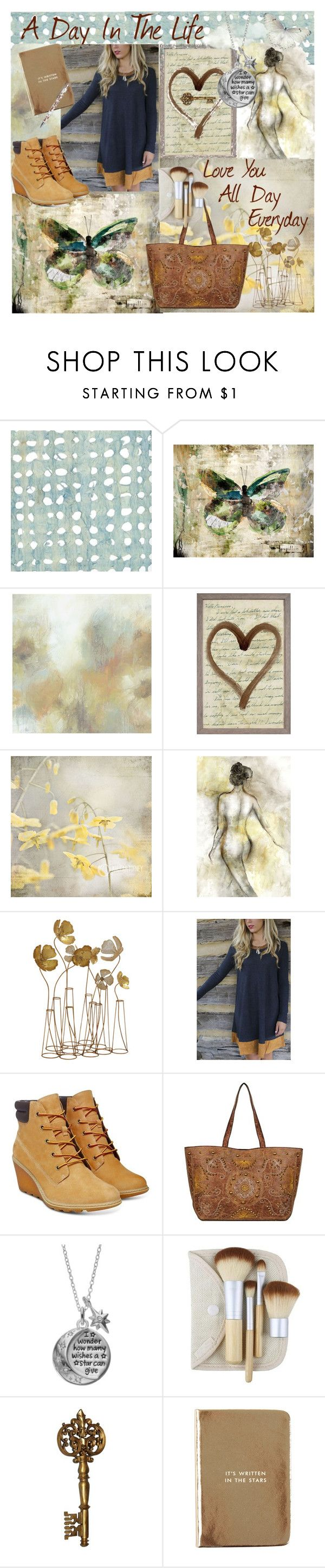 """A Day In The Life"" by dazzling-dazed-dayz ❤ liked on Polyvore featuring Leftbank Art, Pottery Barn, Natural Curiosities, Timberland, Disney, Kate Spade and Caroline Gardner"