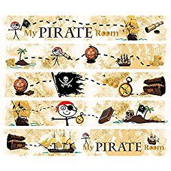 Alonline Art - Strip Nursery Wallpaper Border My Pirate Room Wall Stickers For Bedroom For Living Room Wall Art Stickers Adhesive Vinyl Decal For Kitchen