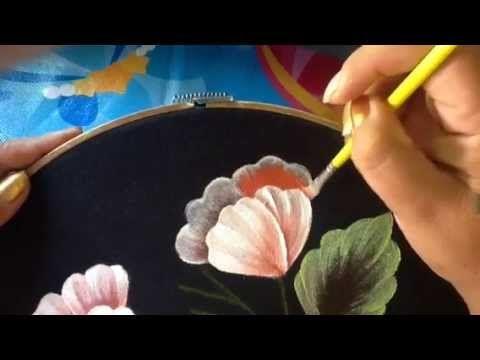 Pintura En Tela Blusa Flores Azules Con Cony - YouTube