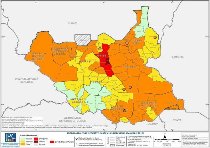 The state of famine in South Sudan as of January 2017