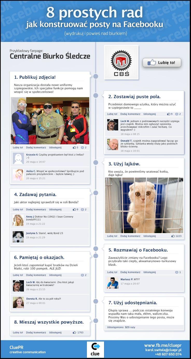 8 rad jak konstruować posty na Facebooku (INFOGRAFIKA własna) - naFejsie - Social Media Stress-Test | naFejsie