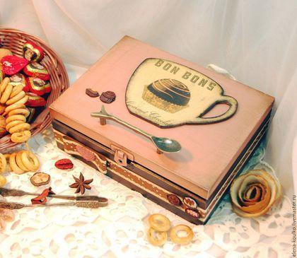 """Кухня ручной работы. Ярмарка Мастеров - ручная работа. Купить Чайный короб """"Шоколадная вечеринка"""". Handmade. Кремовый, короб декупаж"""