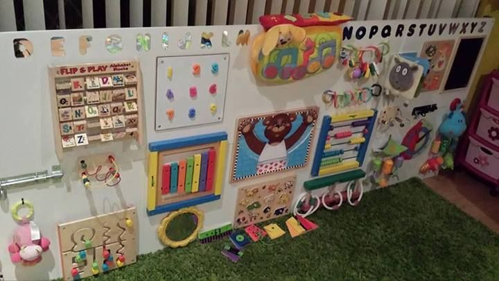 DIY sensory board collecting household objects for activities and stimulation.