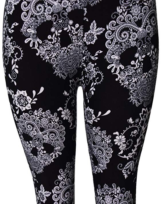 fe25304eee4f2 VIV Collection Regular Size Printed Brushed Leggings (Floral Skulls) at  Amazon Women's Clothing store: