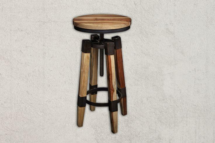 Stool WAVERLY Industrial Sheesham Wood Stool dimensions in cm (H/W/D) 66x37x37cm