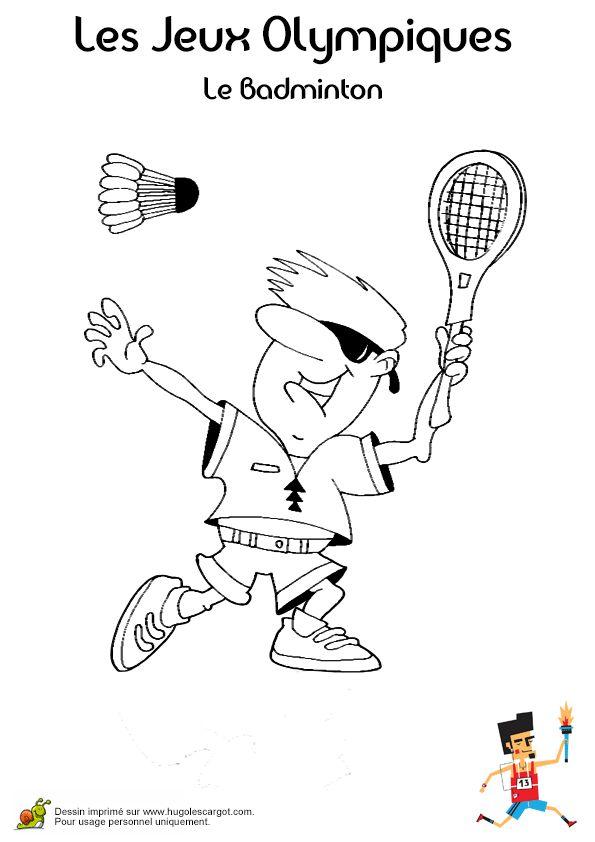 Dessin à colorier d'un monsieur au style funky jouant au Badminton