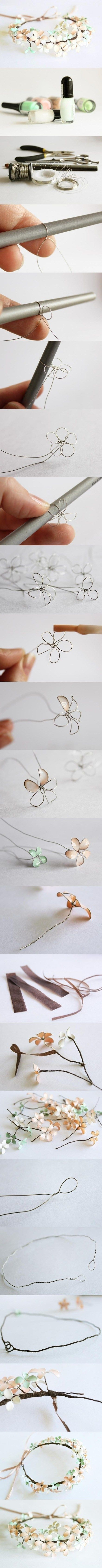 Make pretty flowers with thin wire, glue and nail polish!